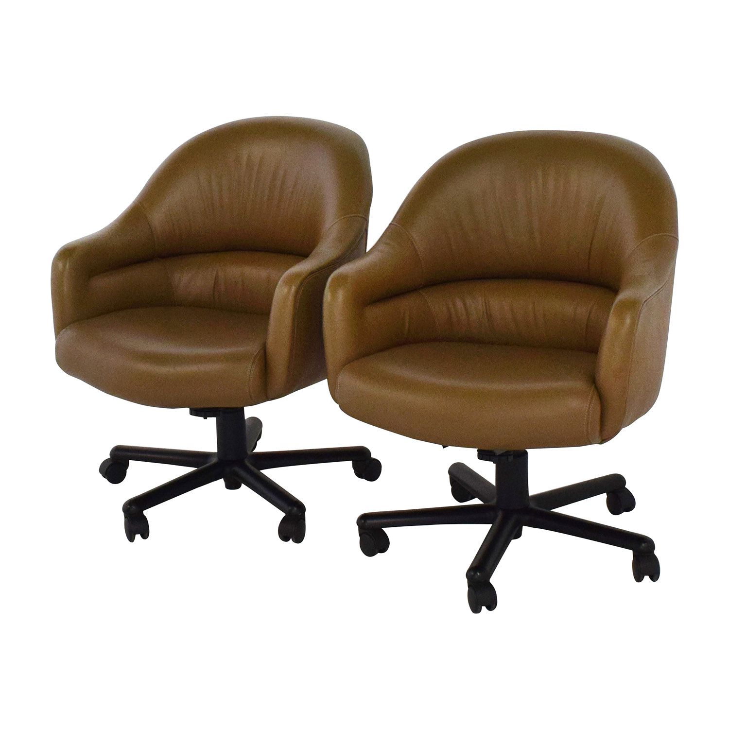 Brown Leather Office Chairs 90 Off Pair Of Brown Leather Office Chairs Chairs