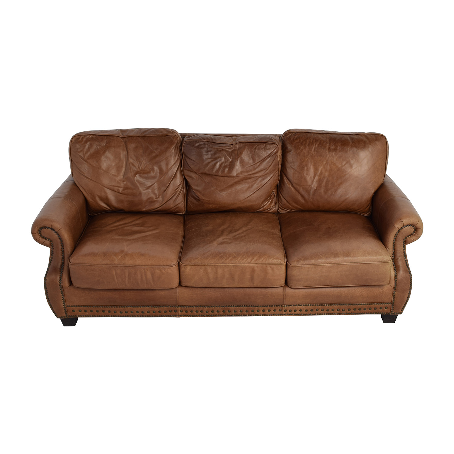 used sofa dark in small living room brown leather penaime thesofa