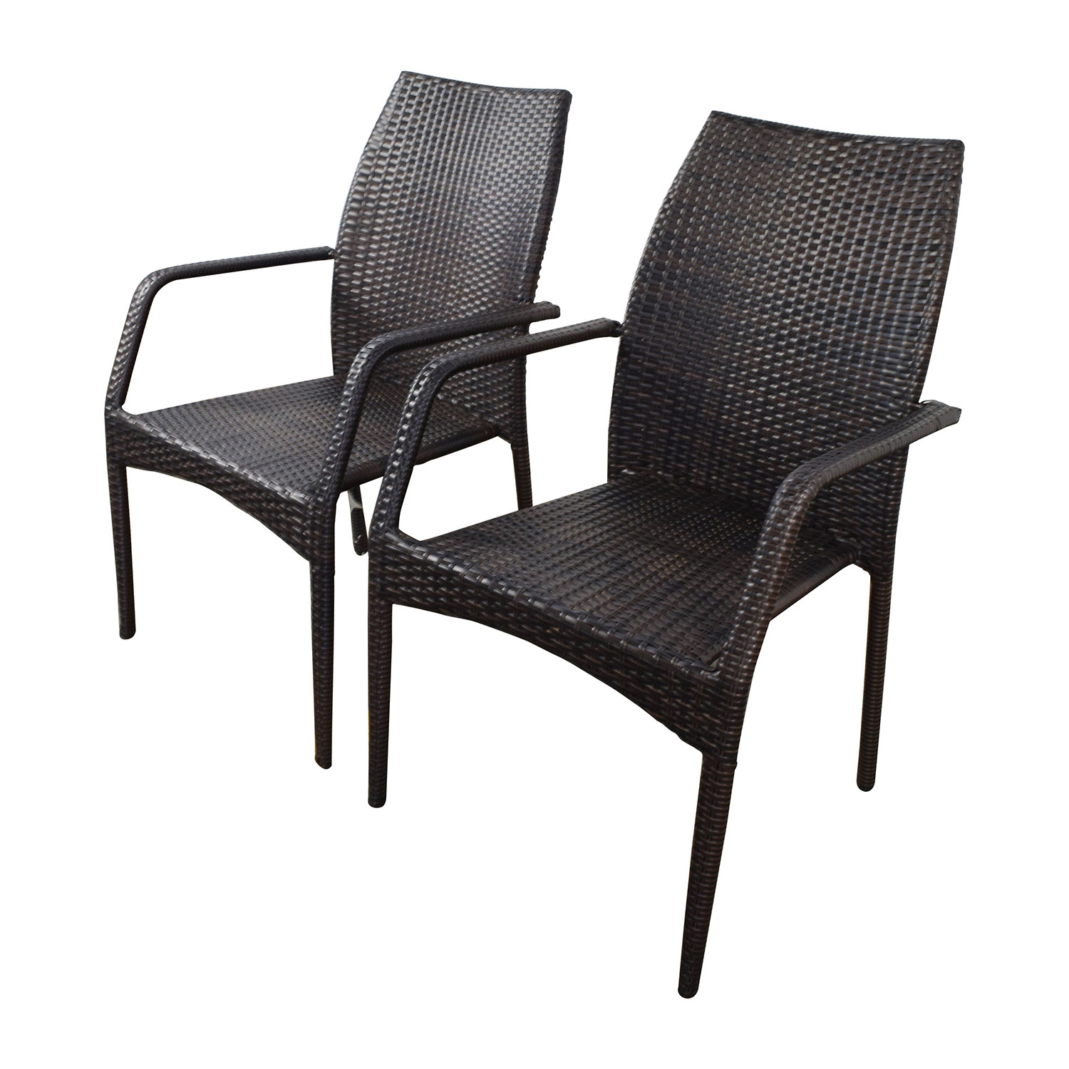 85 OFF  Dark Brown Wicker Outdoor Dining Chairs  Chairs