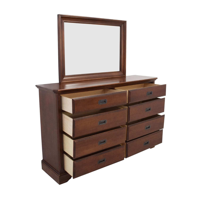 69 OFF  Vaughan Bassett Hardwood Dresser with Mirror  Storage