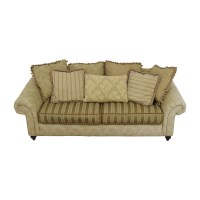 Green Striped Sofa 45 Off Cb2 Brown Leather Three Cushion ...