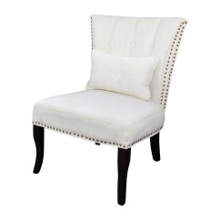 White Tufted Chair Gym Twister Seat Uk 66 Off Unkown Accent Chairs