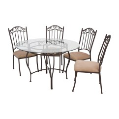 Wrought Iron Kitchen Sets Virtual Designer Free 72 Off Round Glass Table And Chairs Tables