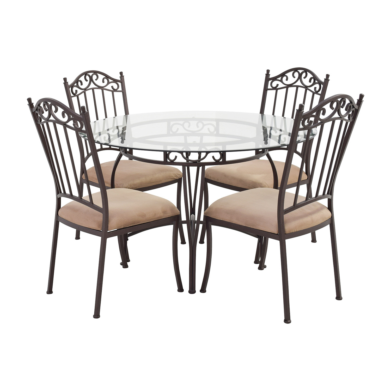 Used Table And Chairs 72 Off Wrought Iron Round Glass Table And Chairs Tables