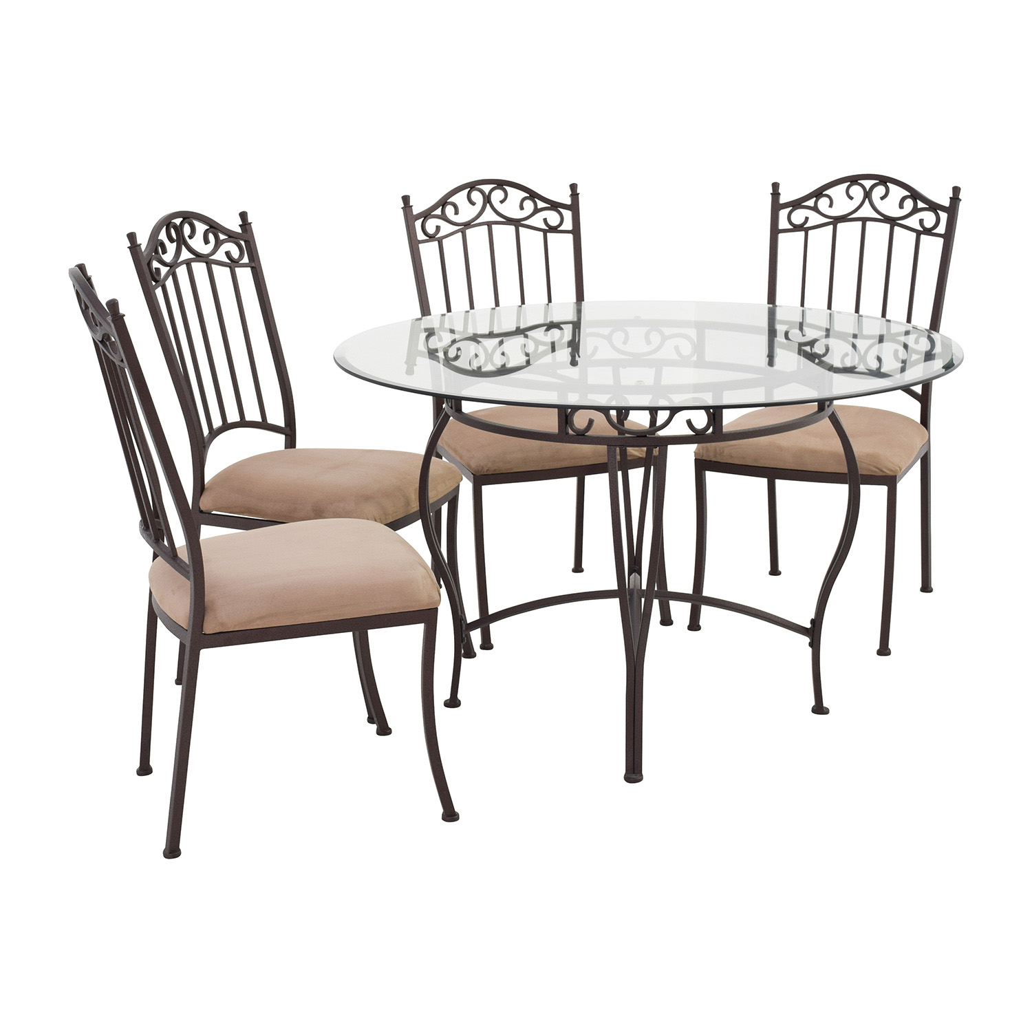 Glass Tables And Chairs 72 Off Wrought Iron Round Glass Table And Chairs Tables