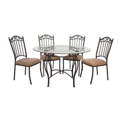 Wrought Iron Table And Chairs Eames Leather Chair Footstool 72 Off Round Glass Tables