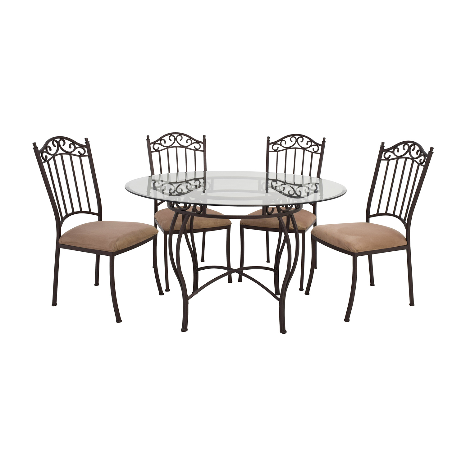 Wrought Iron Table And Chairs 72 Off Wrought Iron Round Glass Table And Chairs Tables