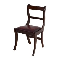 78% OFF - Dark Wood Chair with Leather Seat / Chairs