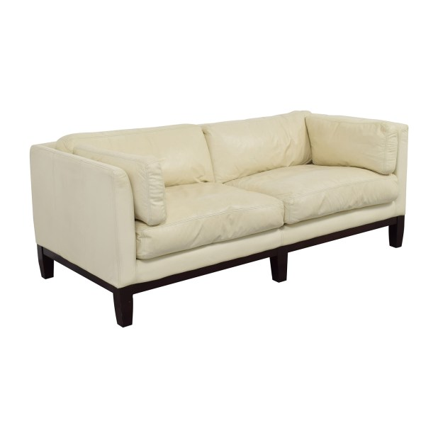 Second Hand White Leather Sofa