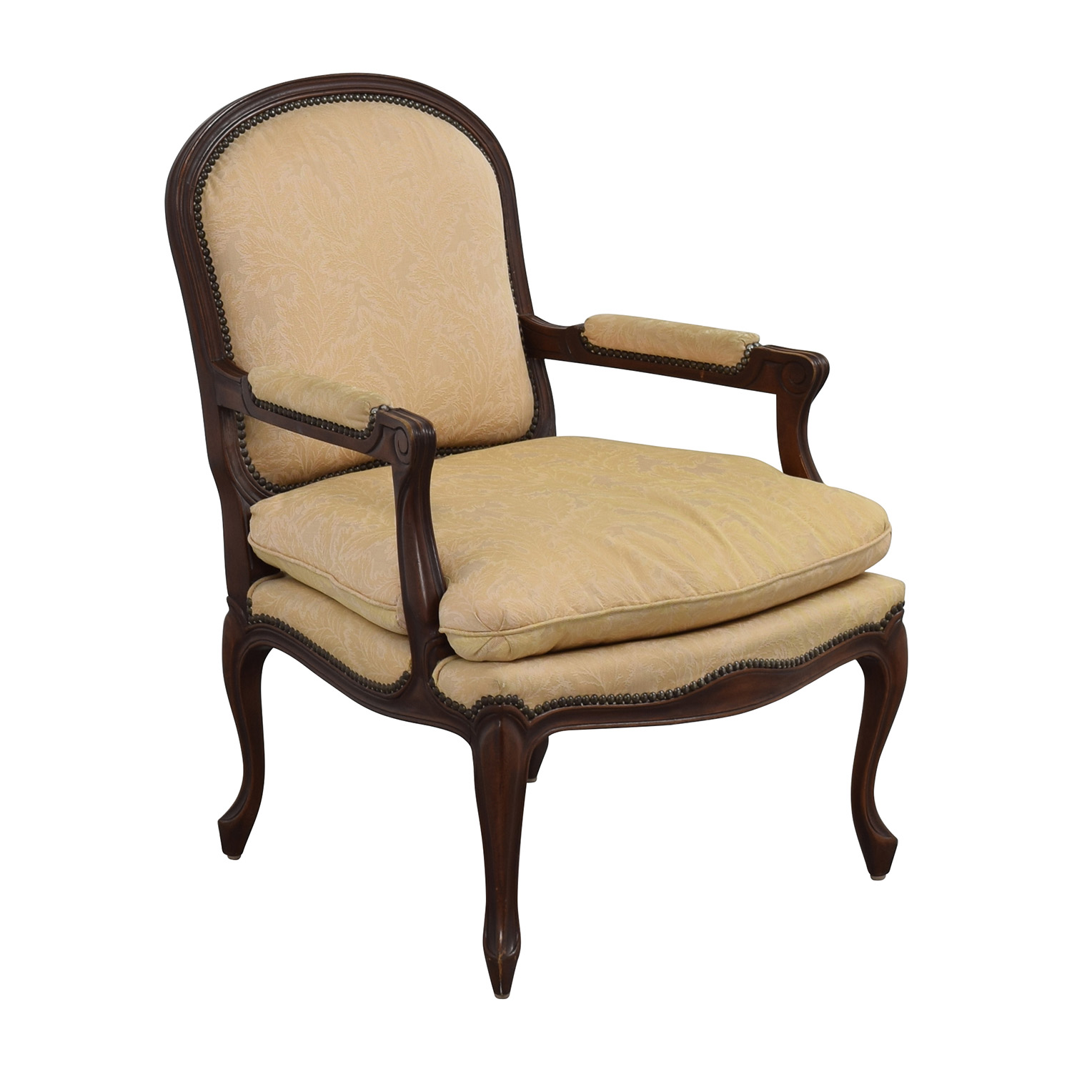 Shop Chairs 75 Off Gold Floral Jacquard Upholstered Studded Accent