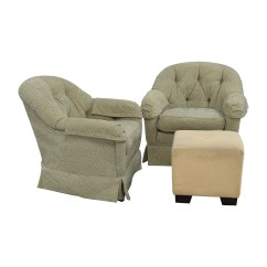 Swivel Club Chair With Ottoman Valet Stand 90 Off Sherrill Furniture Skirted