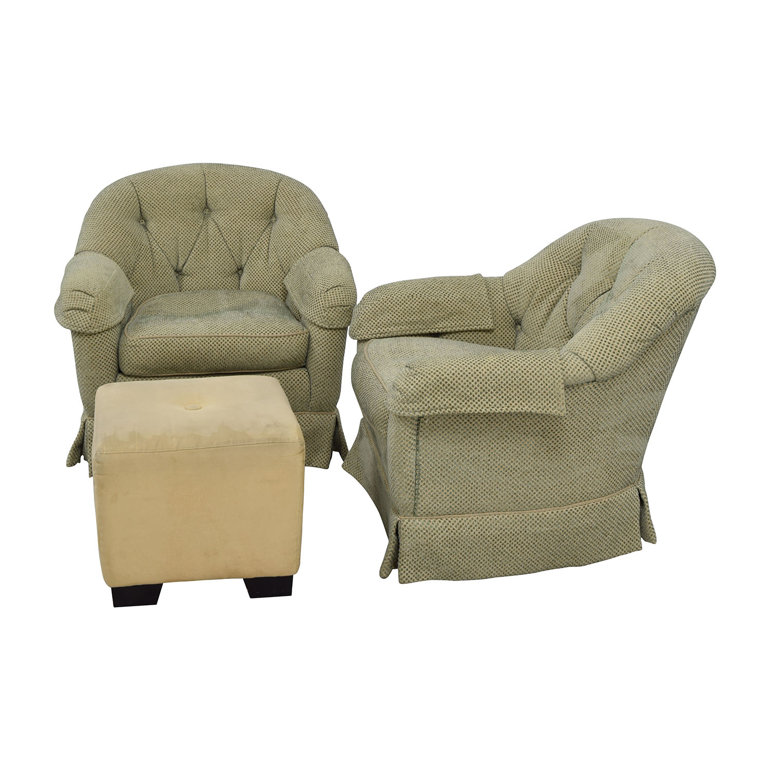 swivel club chair with ottoman good reading chairs 90 off sherrill furniture skirted