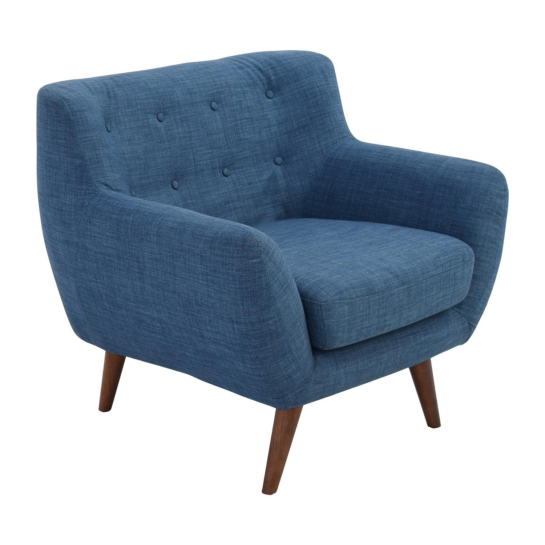 59 OFF  Olson Olson MidCentury Blue Tufted Arm Chair