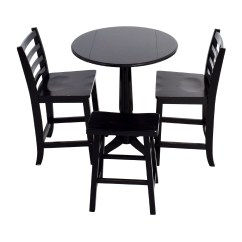 Table With Chairs Rattan Outdoor Uk 59 Off Counter Black Round And Stool