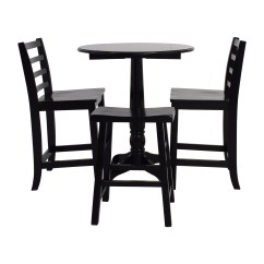 Black Table And Chairs High Chair 59 Off Counter Round With Stool