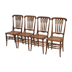 Vintage Wooden Dining Chairs Folding Chair Outdoor 52 Off Antique Cane Weaved Wood