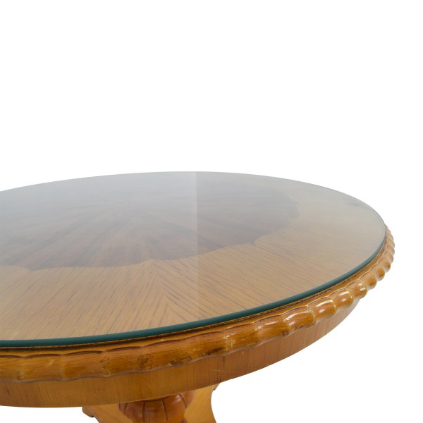 Round Glass Top Dining Table with Wood
