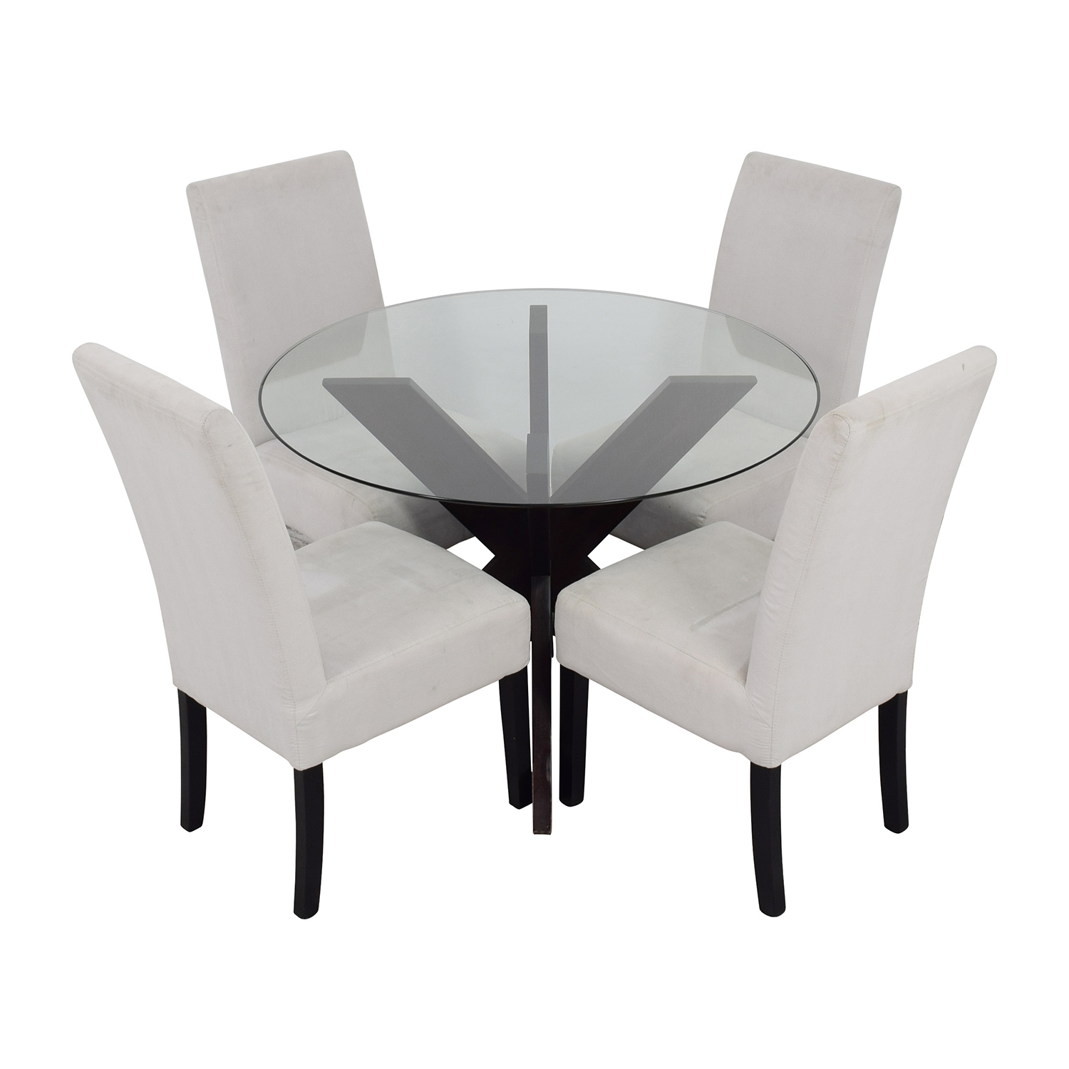 glass and wood dining table chairs swivel chair uk ebay 74 off crate barrel round