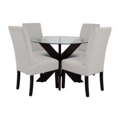 Circle Glass Table And Chairs Glam Dining Room Chair Covers 74 Off Crate Barrel Round