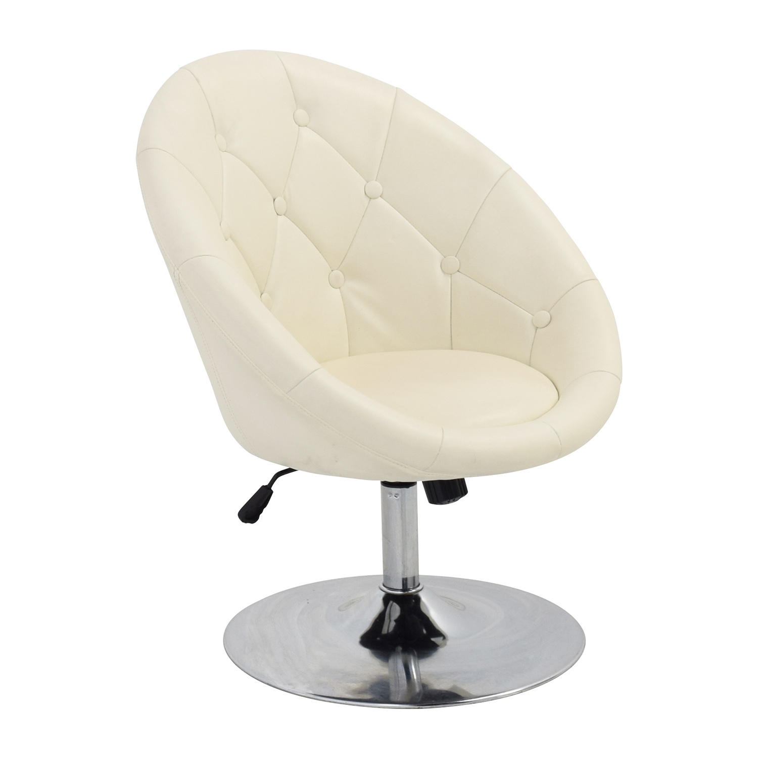 White Leather Swivel Chair 59 Off Coaster Coaster Tufted White Leather Swivel