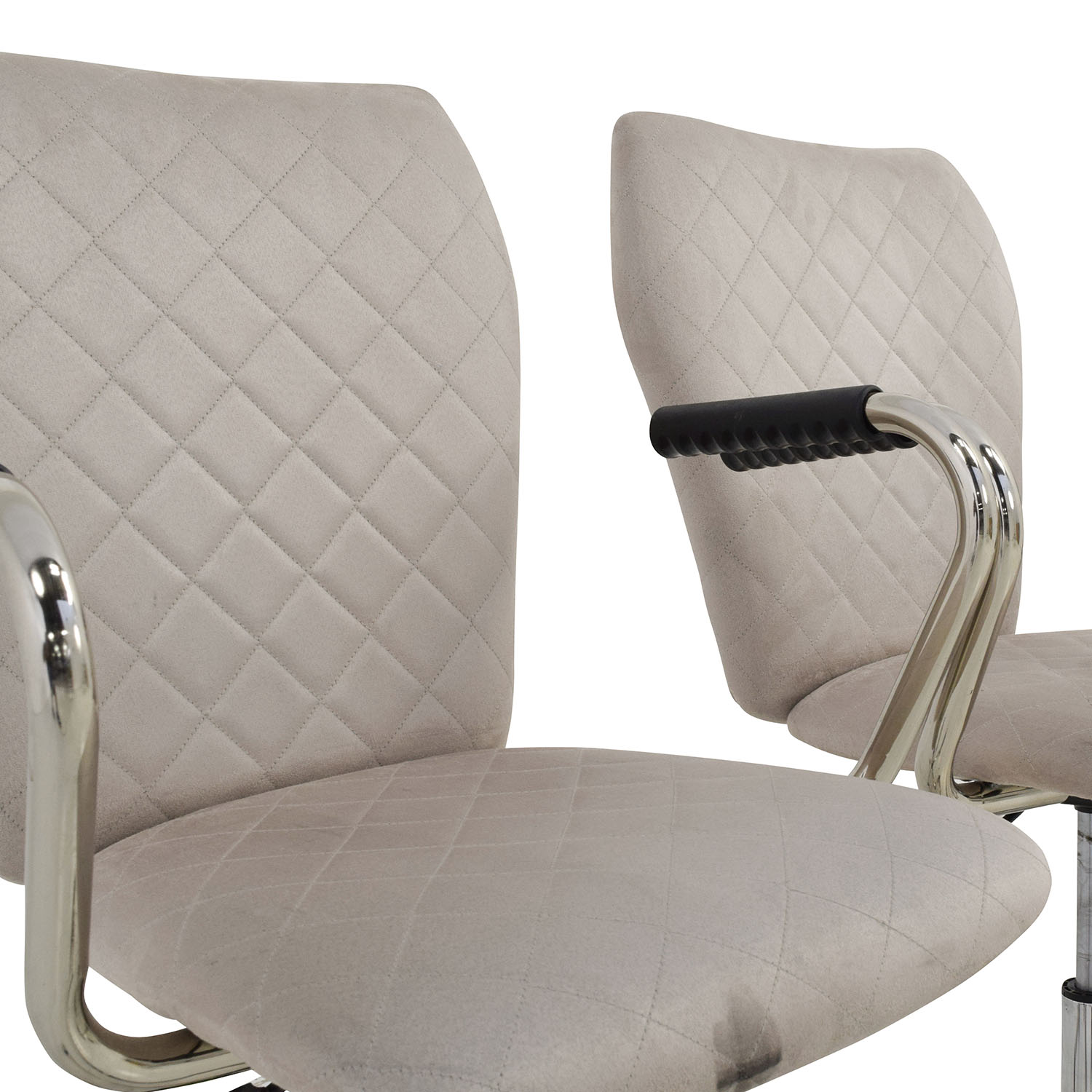 quilted swivel chair revolving olx delhi 90 off beige chairs shop online