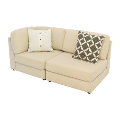 Buchanan Sofa With Chaise Frontier Grey Fabric Bed Cream Chenille Reversible