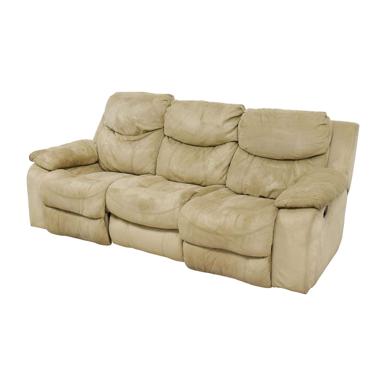 bobs furniture sofa recliner flex gravel sleeper 90 off bob 39s beige dual