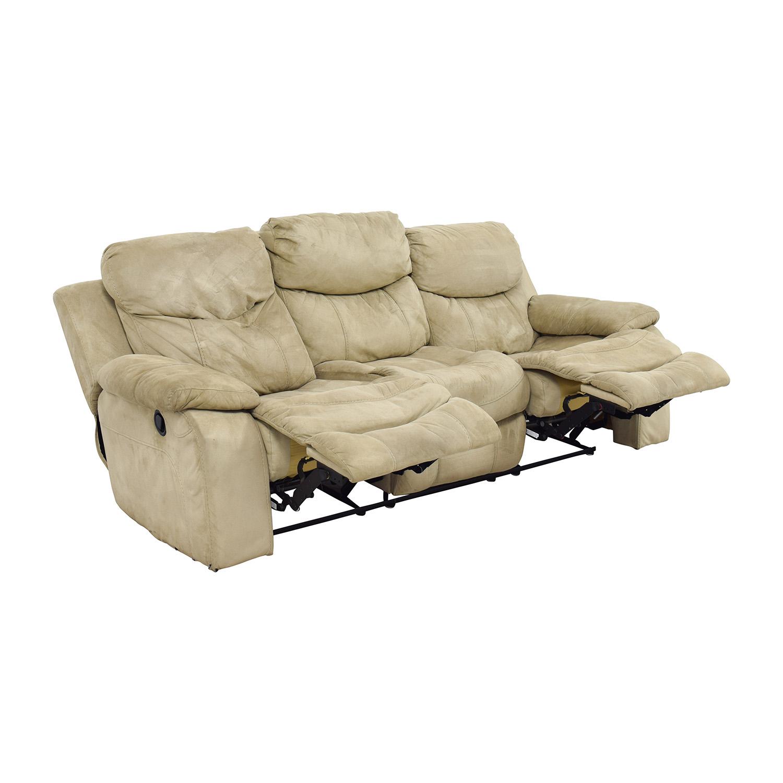 bobs furniture sofa recliner traditional fabric sofas australia 90 off bob 39s beige dual