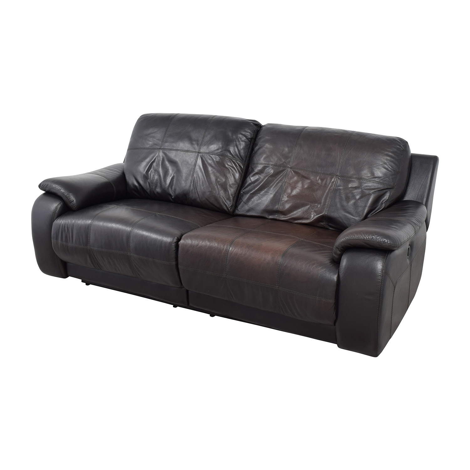secondhand leather sofas monarch sofa 87% off - raymour and flanigan ...