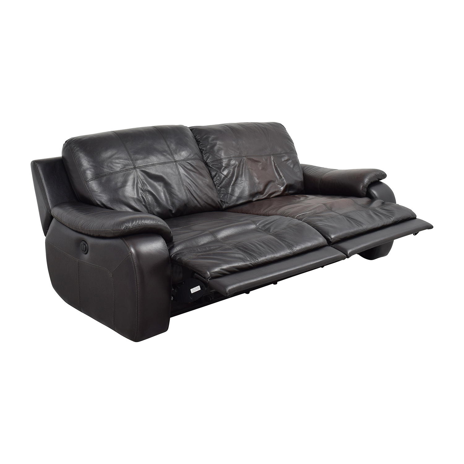raymour and flanigan chairs pedicure used 87% off - espresso leather power recliner sofa / sofas