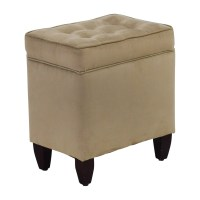 80% OFF - Beige Tufted Ottoman with Storage / Chairs