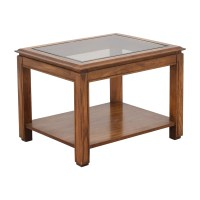 88% OFF - Walnut and Glass Rectangular Coffee Table / Tables