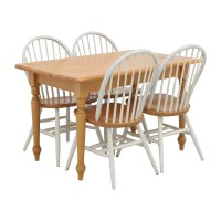 84% OFF - Butcher Block Kitchen Table and Four Chairs / Tables