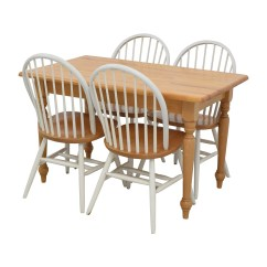 Used Kitchen Chairs Inexpensive Patio Lounge 84 Off Butcher Block Table And Four Tables