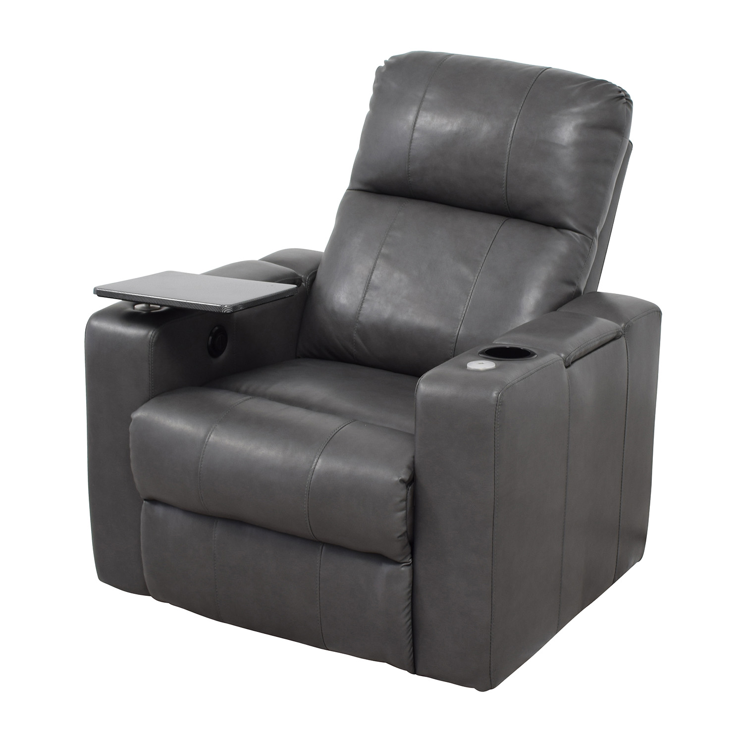 90 OFF  Grey Leather Recliner with Storage and USB Port