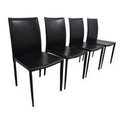 Set Of 4 Dining Chairs High Chair Toy 61 Off Four Black Leather