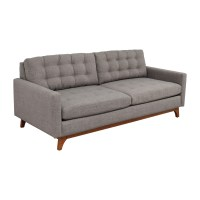 30% OFF - Macy's Macy's Grey Tufted Two-Cushion Couch / Sofas