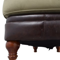 Chairs With Storage Ottoman Bubble Hanging Chair 90% Off - Dark Brown Leather And Sage Green /