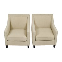 67% OFF - Studded Beige Sofa Arm Chairs / Chairs