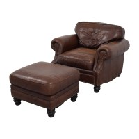 75% OFF - Brown Leather Studded Armchair with Matching ...