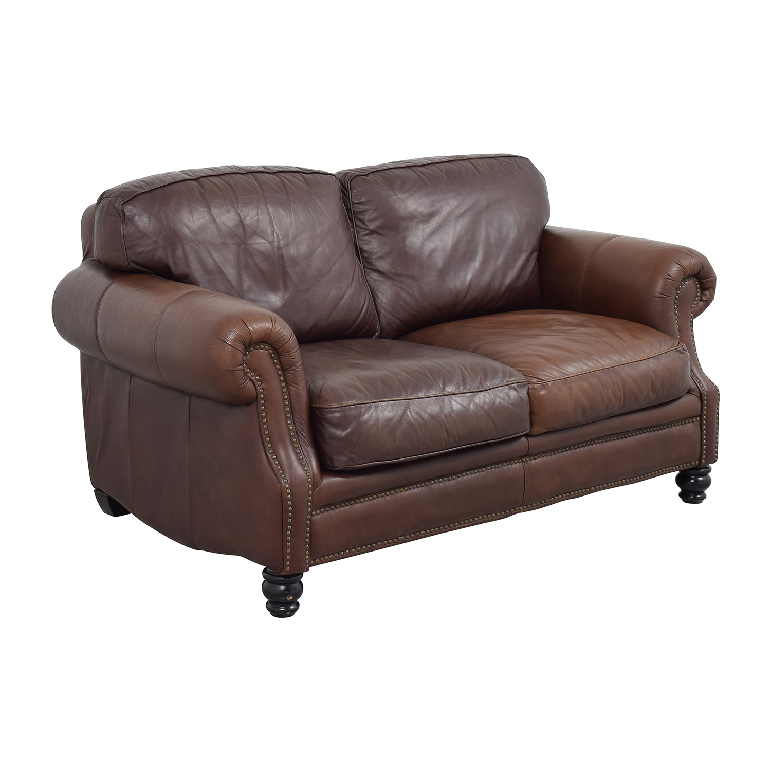 secondhand leather sofas costco sofa sectional 68% off - brown studded loveseat /