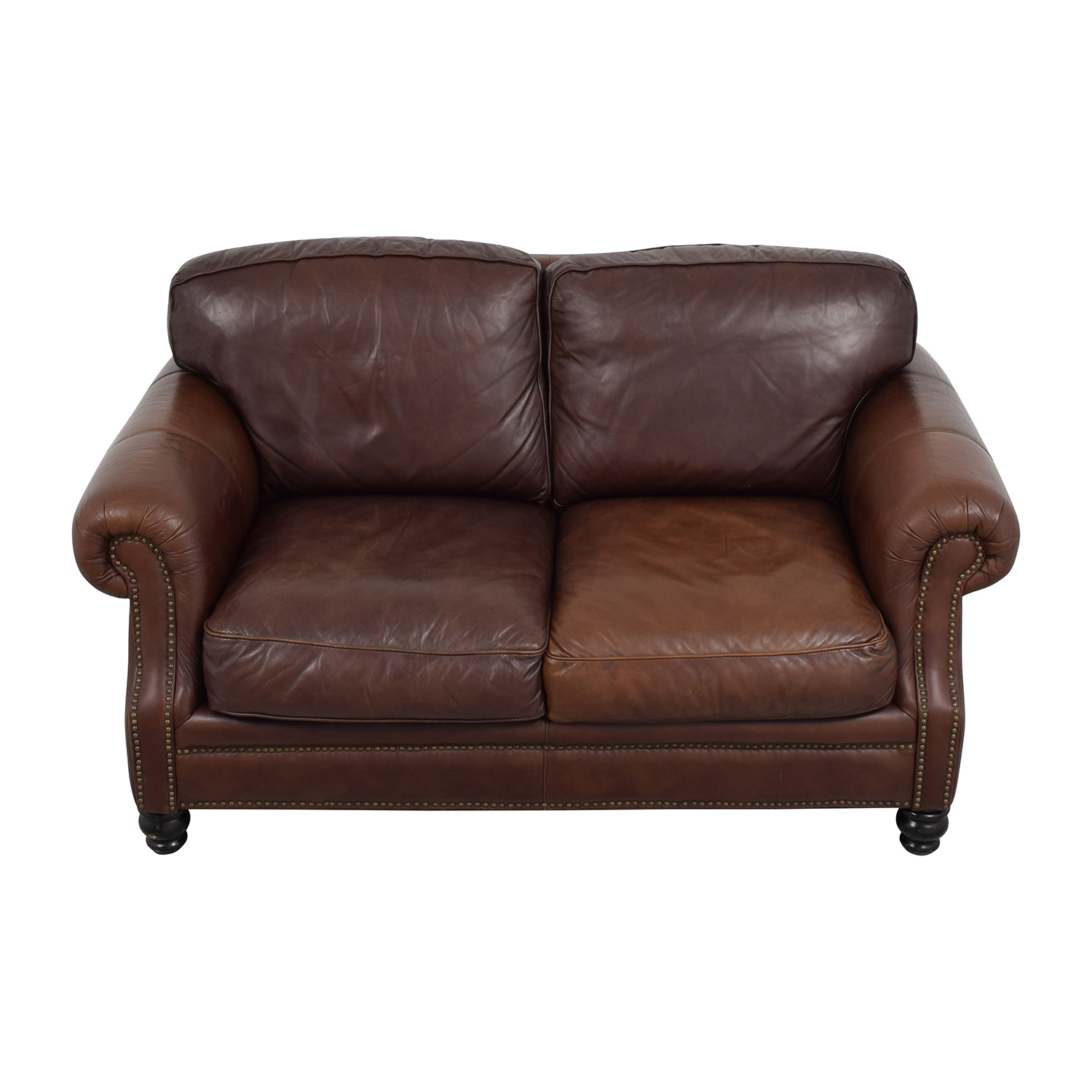 brown leather studded sofa palliser queen bed sofas second hand