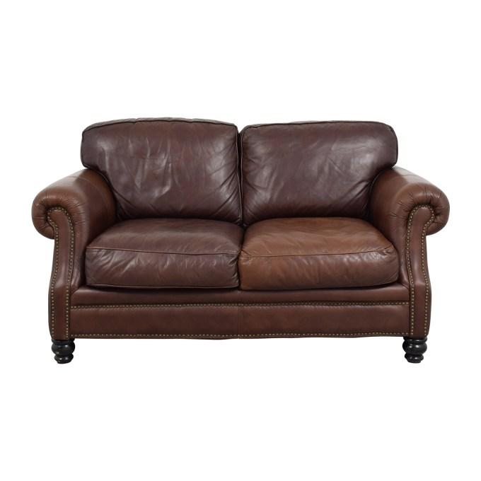 Brown leather studded sofa for Studded sofa sets