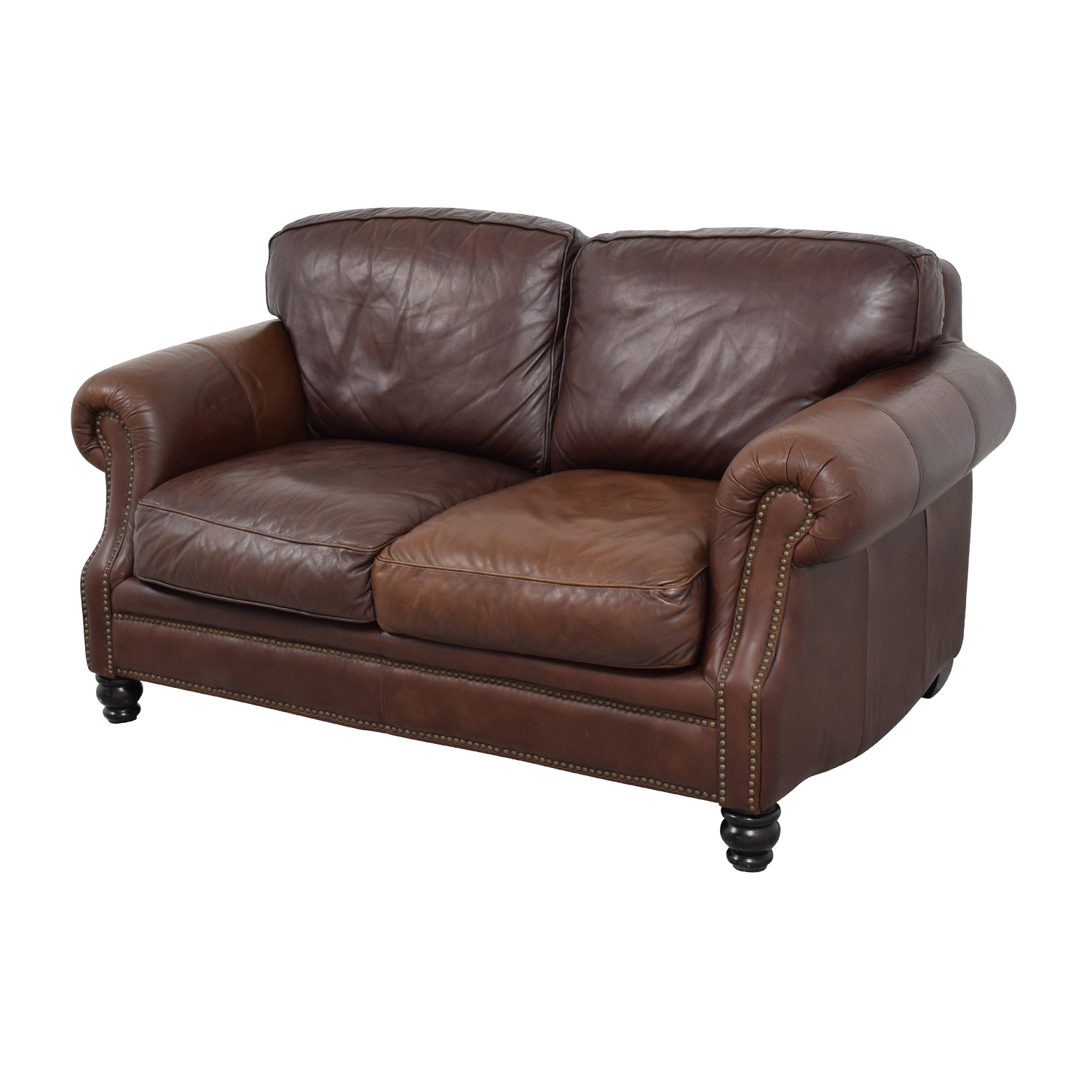 brown leather studded sofa sofas 72 inches 68 off loveseat