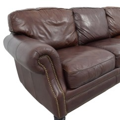 Brown Leather Studded Sofa Hagalund Loveseat Bed 61 Off Three Cushion Sofas