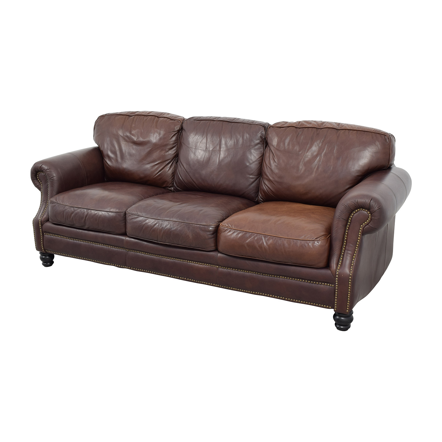 brown leather studded sofa off white 2143 modern reclining sectional by esf 61 three cushion sofas