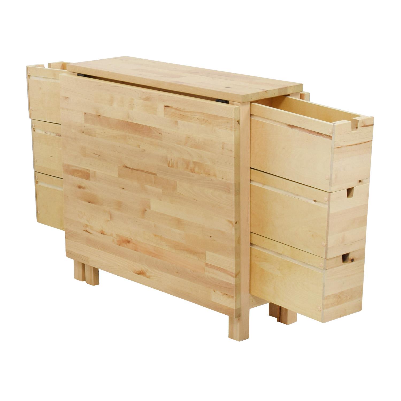 ikea kitchen table with drawers log home islands 49 off birch norden gateleg drop leaf