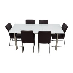 White 6 Chair Dining Table Nursing Rocking 59 Off Modani Cameron Glass Extendable