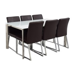 White 6 Chair Dining Table Covers On Folding Chairs 59 Off Modani Cameron Glass Extendable
