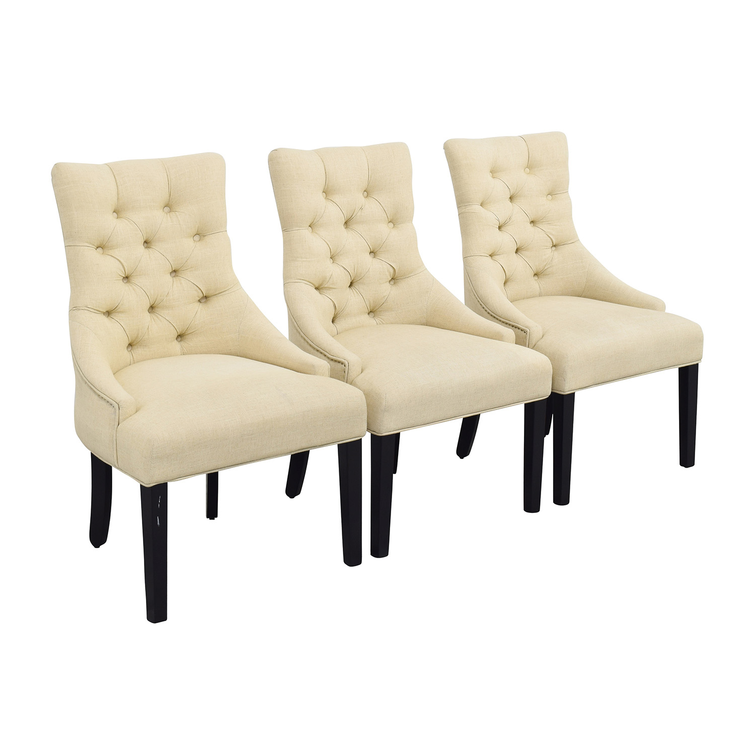 Used Wingback Chairs 87 Off West Elm West Elm Beige Tufted Wing Back Chairs